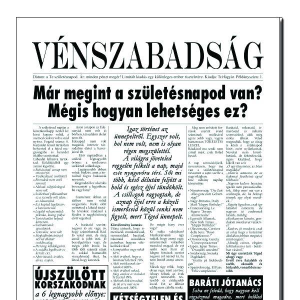 Vénszabadság - Tréfás Szülinapi újság
