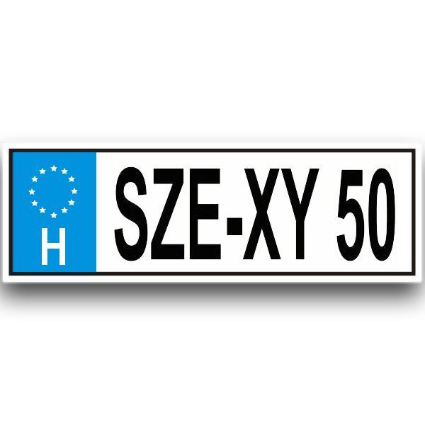 SZE-XY50 - Tréfás rendszámtábla