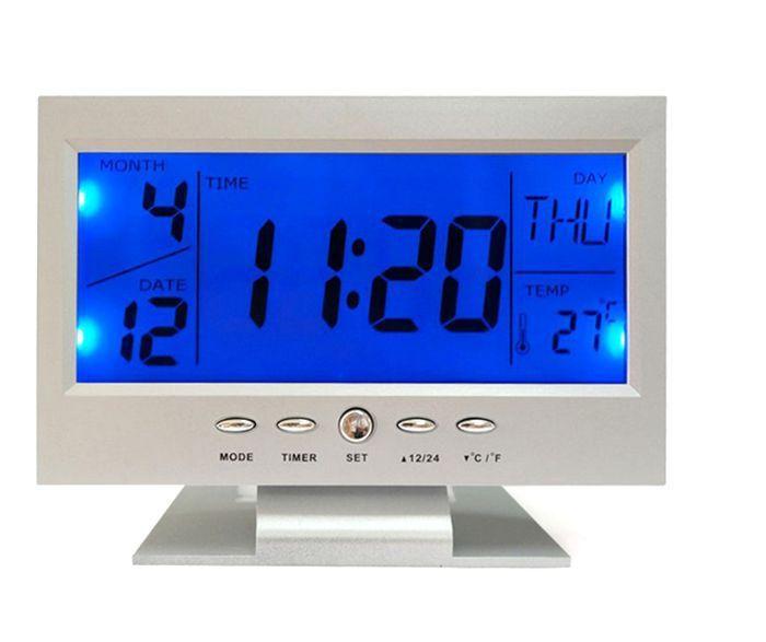 Hangvezérléses Digitális Led ébresztő Óra naptár, hőmérséklet, visszaszámláló - 8082