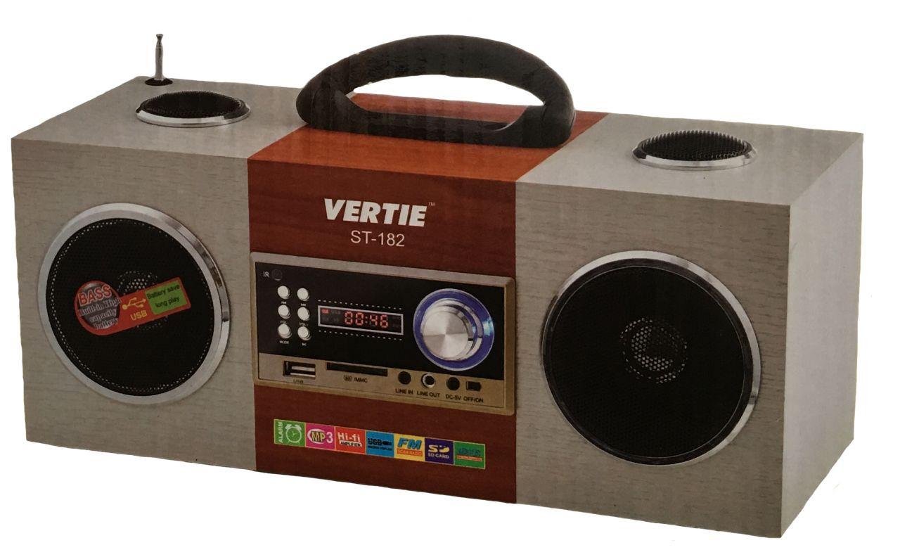 Hordozható multimédia lejátszó hangszóró akkumulátorral távirányítóval Mp3,FM-Rádió, USB, SD kártya, 3,5 jack - Vertie ST-182