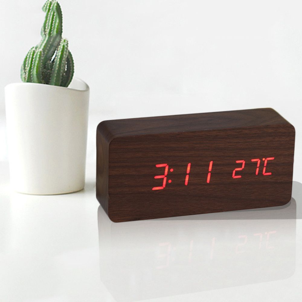 Design Fa Digitális ébresztő Led óra érintésérzékeny, hangvezérlés