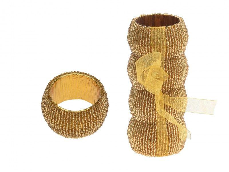 Szalvétagyűrű gyöngyös arany 4db A04150700