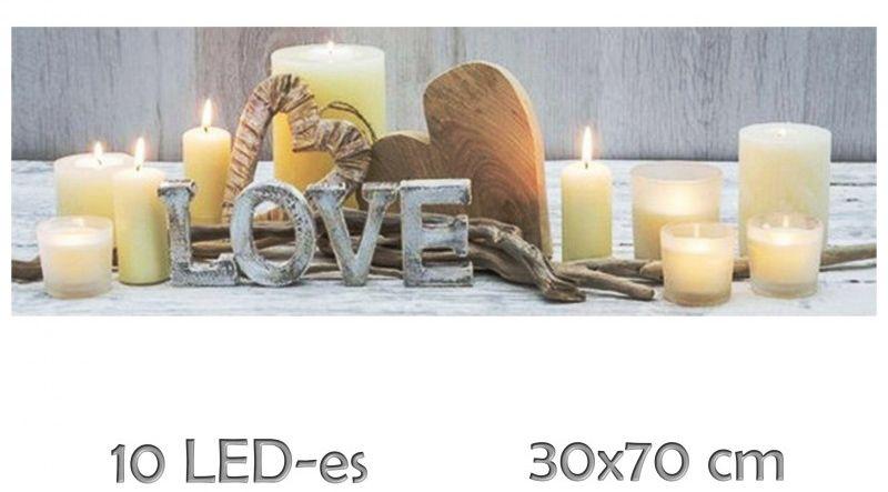 10 LED-es világító falikép Love + gyertyák 30x70cm 4758 - Ledes Falikép