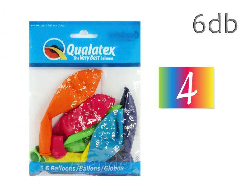 Lufi Boldog születésnapot vegyes szín 6db 4-es 28cm Q48191RP