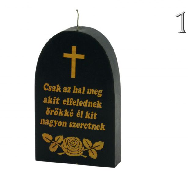 Gyertya sírkő 10x16cm 2féle felirattal - Idézetes gyertya