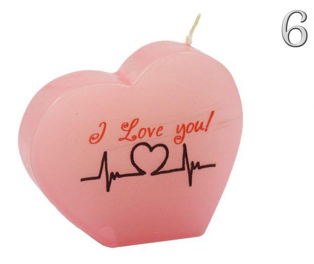 Díszgyertya szív 10cm többféle felirattal és színben - Díszgyertya