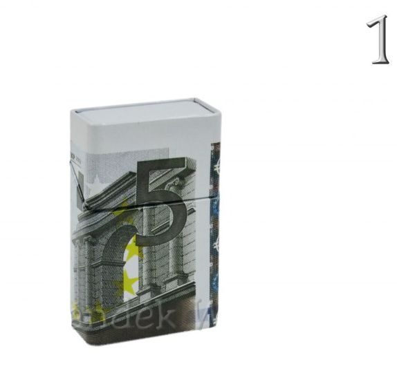 Cigaretta tartó doboz Euro 6x9,5cm 40526 5féle - Fém díszdoboz