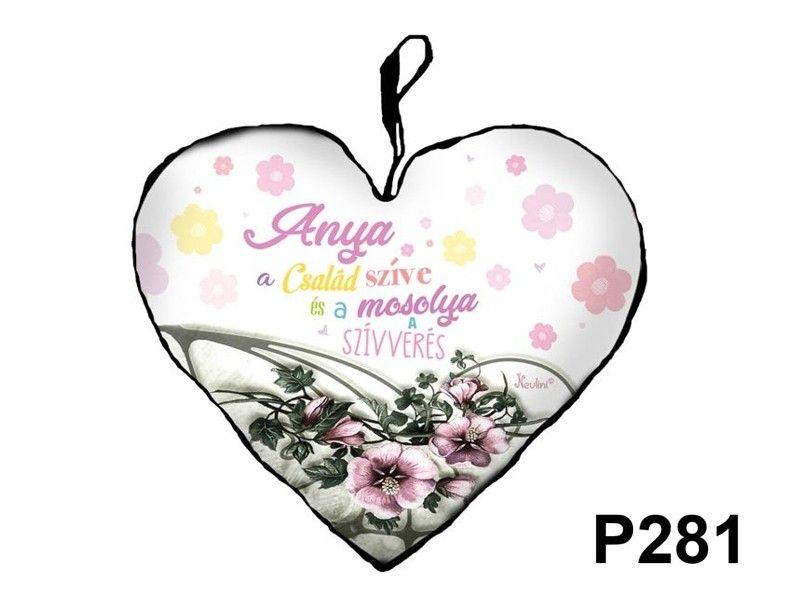 Díszpárna P281 szív kicsi Anya a család szíve - Díszpárna