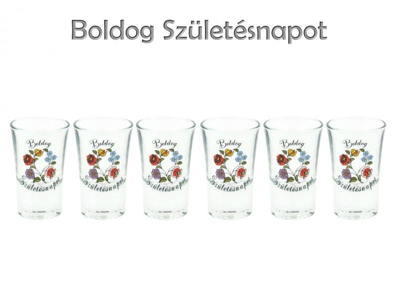 00305efe70 Pálinkás pohár szett 3,4cl 6db Boldog Születésnapot kalocsai minta -  Magyaros ajándék