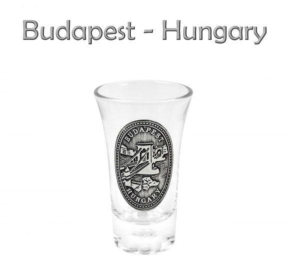 Pálinkás pohár 5cl Budapest Lánchíd fémcímkés - Magyaros ajándék
