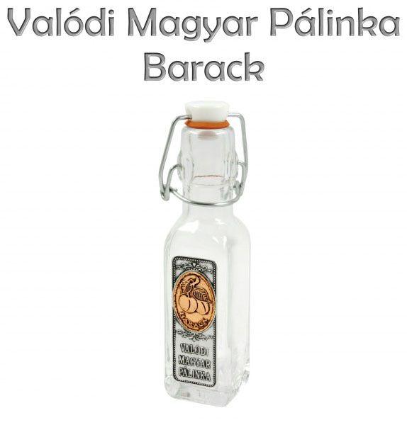 Csatos üveg Valódi Magyar Pálinka Barack fémcímkés 0,1l - Magyaros ajándék