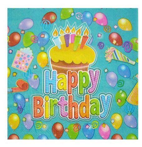 Szalvéta Happy Birthday 2 rétegű 20db 32cm 601190