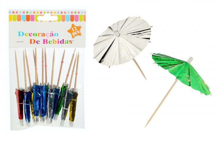 Koktél esernyő fényes 12db 10cm 211328