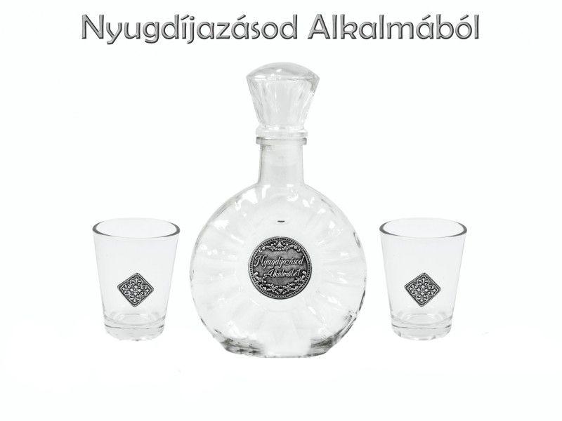 Óncímkés Pálinkás készlet 0,2l palack + 2 pohár Nyugdíjazásod Alkalmából - Óncímkés Pálinkás készlet