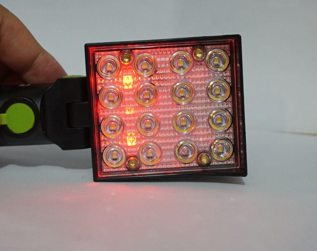 Multifunkciós akkumulátoros elemlámpa 16 Led + piros/kék led USB