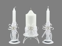 abb7f206a6 Esküvői gyertya szett szíves 3db-os 6098 - Esküvői kellékek