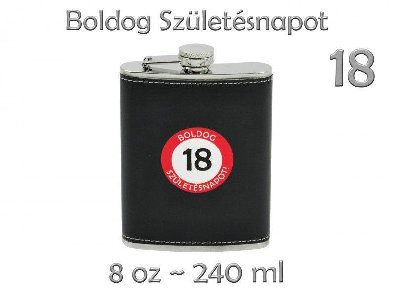 e6d57e8bd6 Flaska fekete Boldog Születésnapot/Névnapot/Évszámos 8oz 240ml 9féle 7351