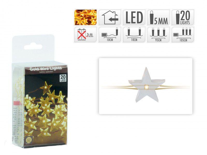 Karácsonyi 20 LEDes fényfűzér csillag aranydrót extra melegfehér beltéri elemes 105cm AX871 - Karácsonyi LEDes fényfüzér