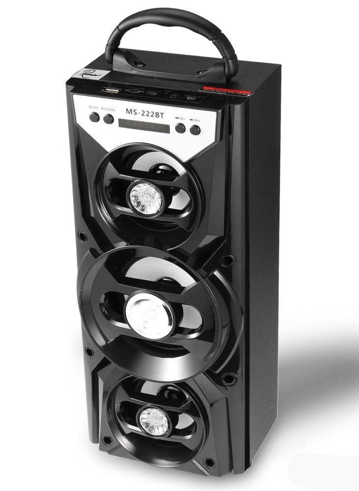 Hordozható hangszóró Bluetooth multimédia lejátszó akkumulátorral LED hangszóróval Mp3,FM-Rádió, 3,5 jack, USB, Micro SD kártya - MS-222BT