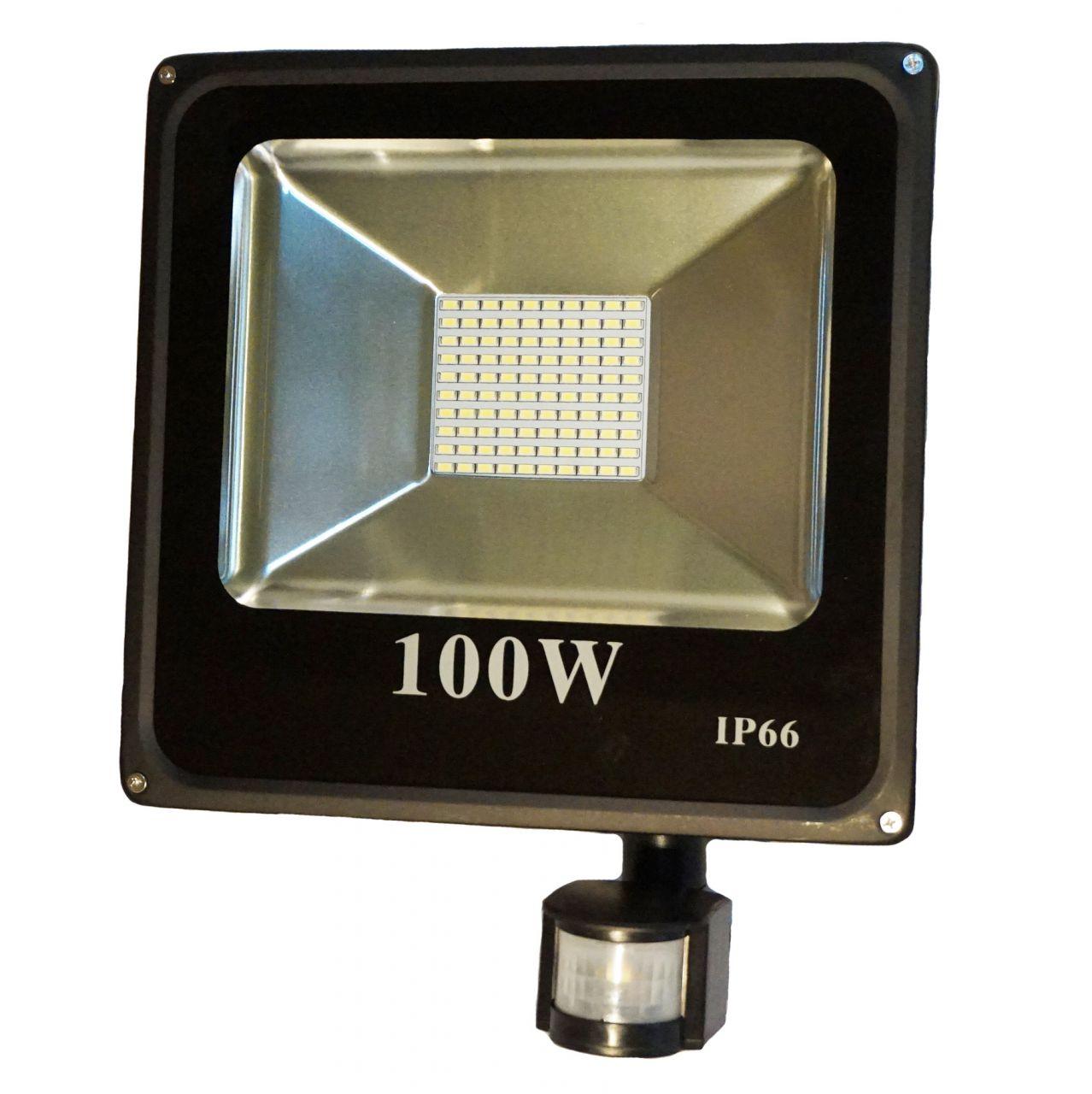 100W CREE LED-es mozgásérzékelős reflektor fényvető hideg fehér SLIM Szabadtéri spotlámpa IP66