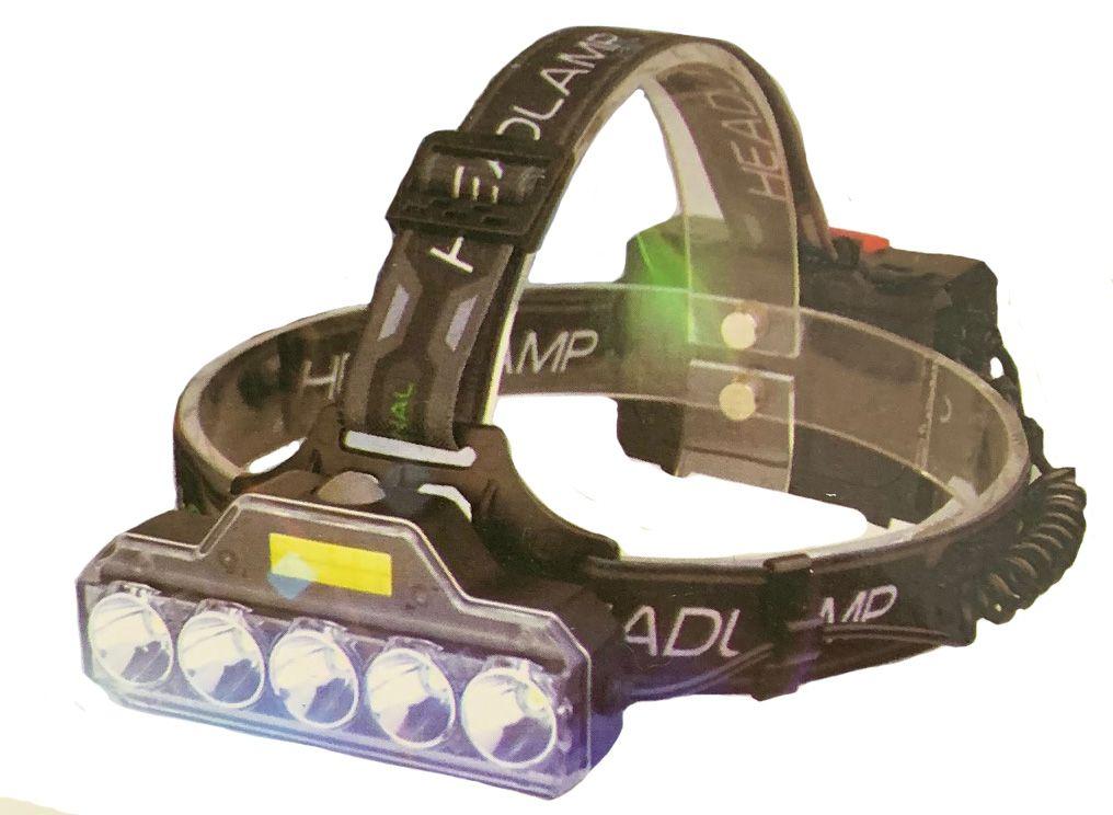 50w 6 LED Fejlámpa 5 Led + 1 COB Led 3db Akkumulátorral - TD-851