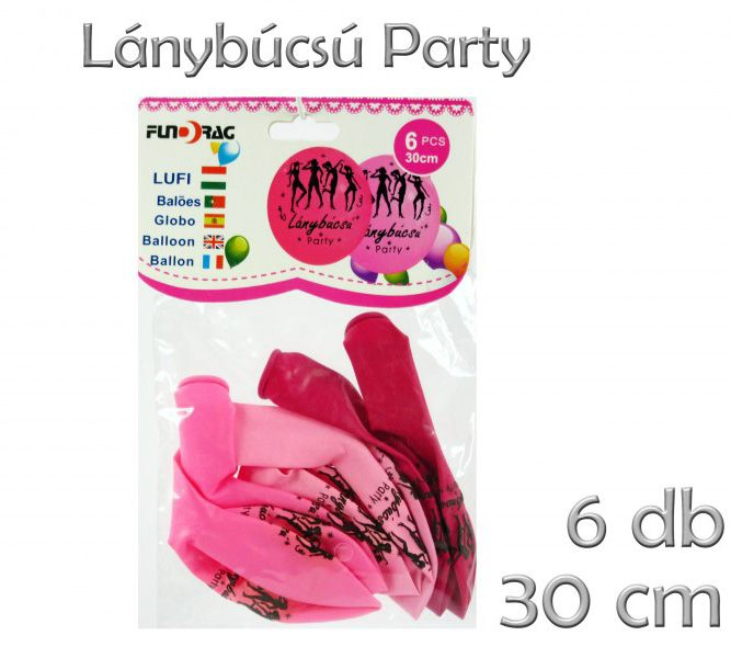 Lufi Lánybúcsú rózsaszín 6db 30cm 602128