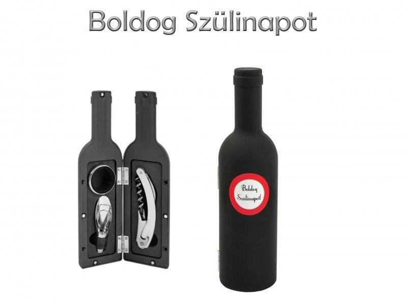 Boros szett Boldog Születésnapot/Névnapot/Évszámos 3db-os 23cm 9féle - Bor kiegészítők