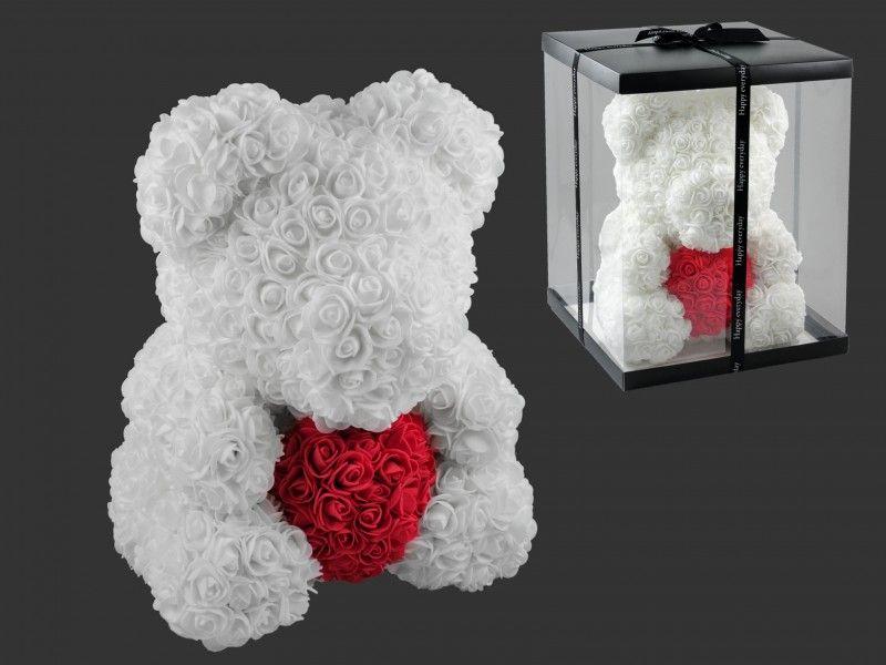 Virágmaci szívvel fehér 36cm díszdobozban 7616 - Virágból készült állatok