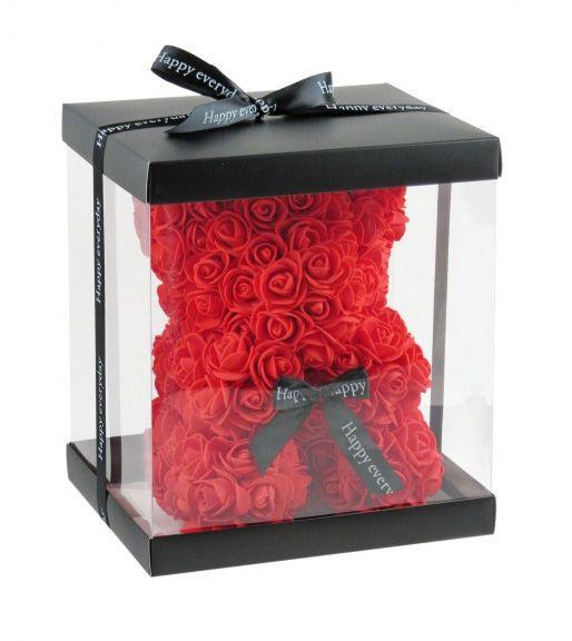 Virágmaci piros 24cm díszdobozban 7605 - Virágból készült állatok