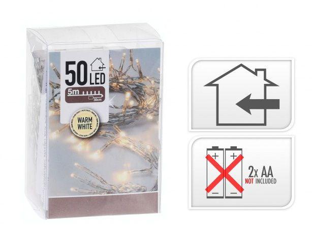 50 LEDes fényfüzér melegfehér beltéri elemes 5m+30cm AXS000660