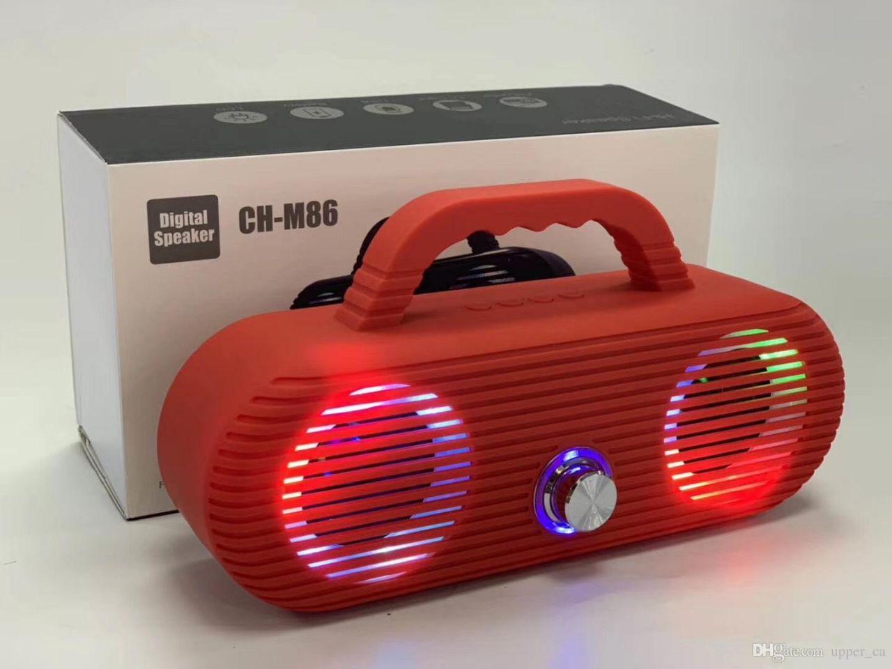 Bluetooth hangszóró LED fények, Mp3,Rádió,USB, TF/micro SD kártya,AUX 3,5 jack, Mikrofon jack bemenet - CH-M86