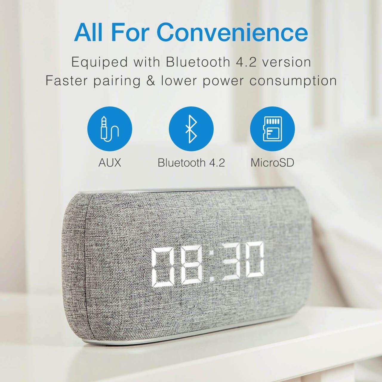 Bluetooth hangszóró Digitális Ébresztő Óra Mp3,Rádió, TF/micro SD kártya, AUX 3,5 jack, - M29