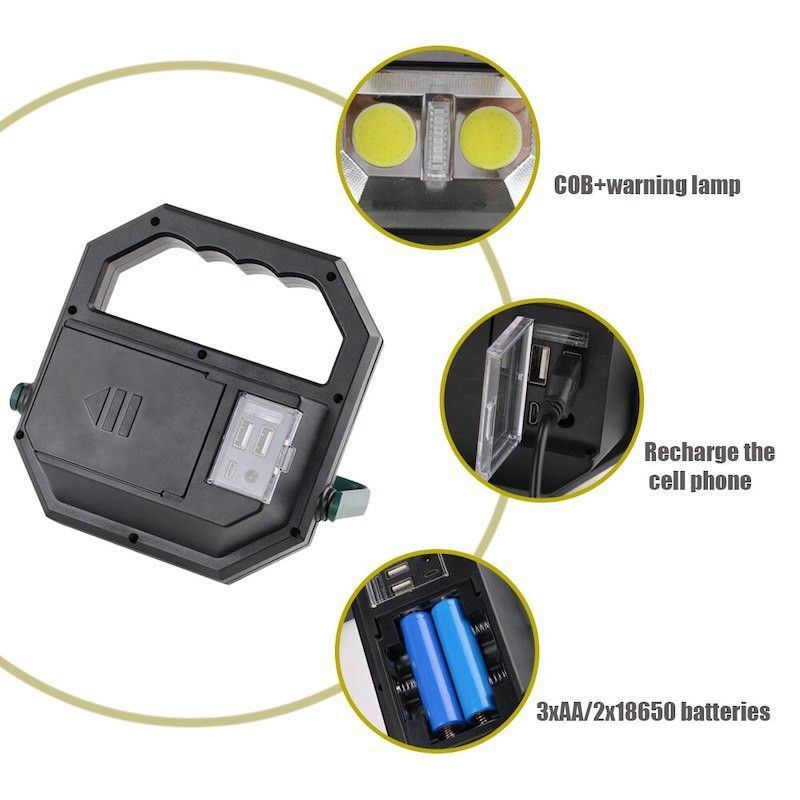 Multifunkciós 2x akkumulátoros szerelőlámpa elemlámpa 2 COB led + 10 színes Led, USB - DR-908