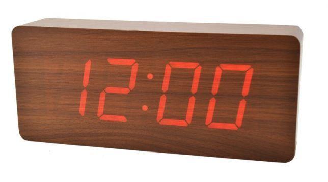 BIG Design Fa Digitális ébresztő Led óra érintésérzékeny, hangvezérlés - Piros kijelzővel