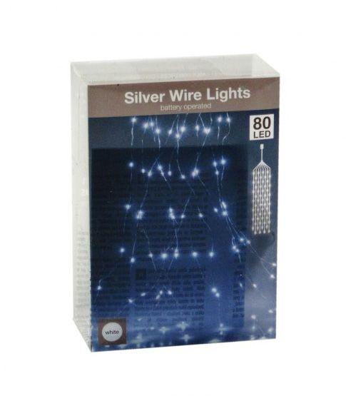 80 LEDes fényfüzér ezüstdrót háló fehér beltéri elemes 105cm AX8701110