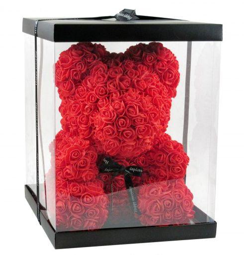 Virágmaci piros 36cm díszdobozban 8078 - Virágból készült állatok