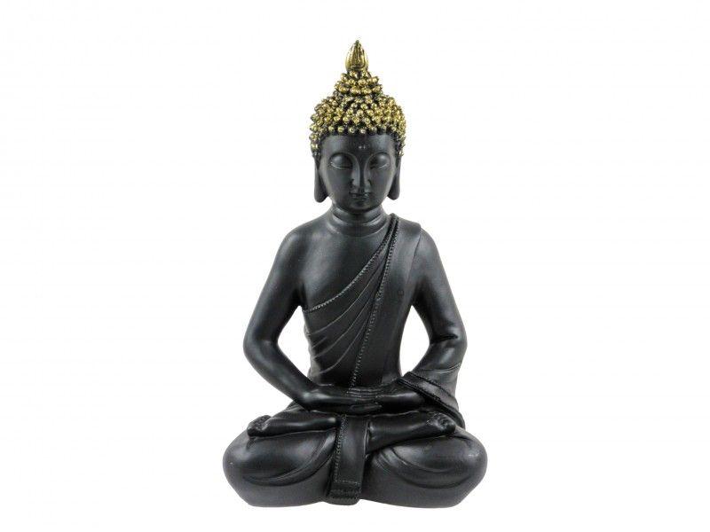 Buddha szobor fekkete/arany 30cm 6350 - Egzotikus ajándék
