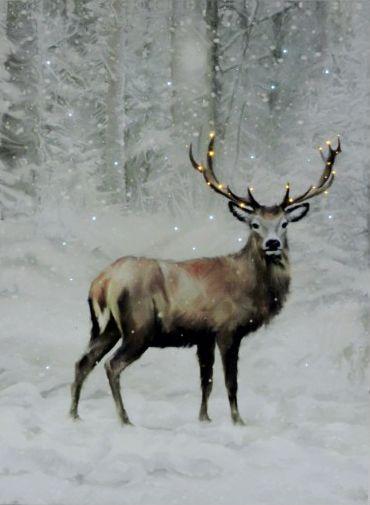 Karácsonyi 20+40 LEDes világító falikép szarvas 30x40cm 00867