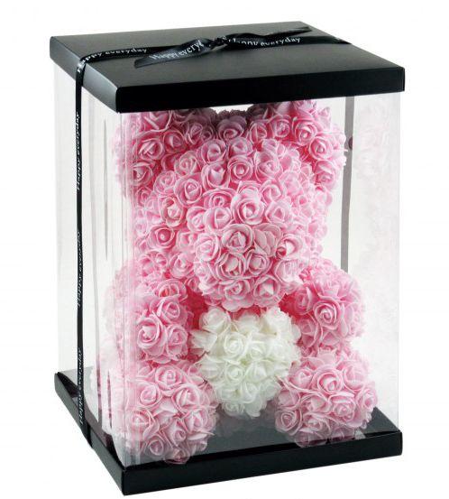 Virágmaci rózsaszín/fehér 36cm 8079 - Virágból készült állatok