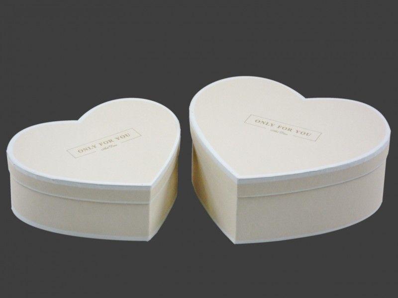 Díszdoboz szett szív krém/fehér 2db 391622 - Díszdoboz szettek